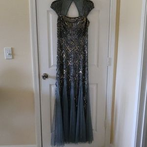 Adrianna Papell Cap-sleeved Sequin Gown